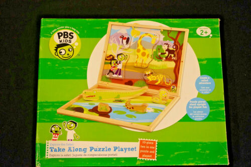 PBS Kids Take Along Puzzle Play Set Safari Adventure Wood 2 in 1 Play Set  # 800