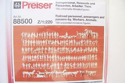 Z scale Preiser 160 UNPAINTED ASSORTED FIGURES KIT (with Animals) # 88500