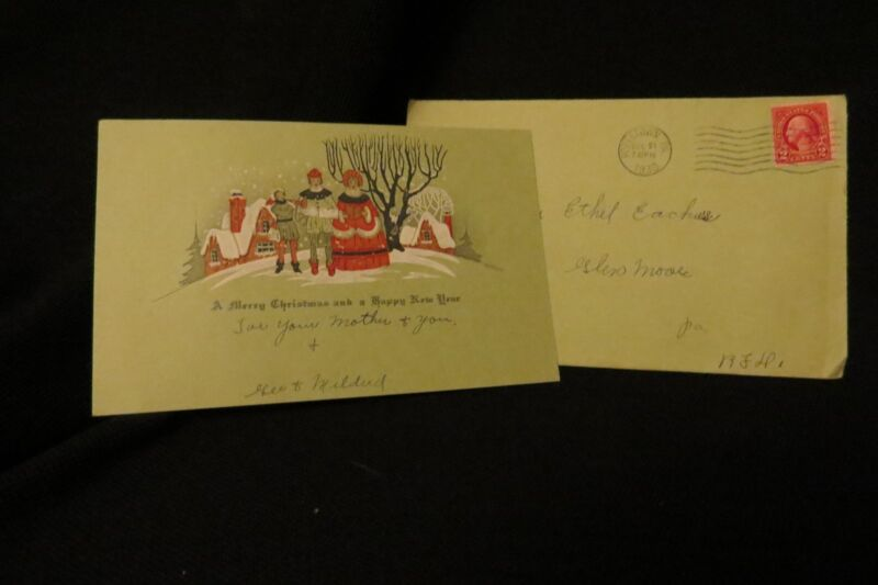 Vintage ART DECO Caroling Christmas Card c. 1930s w/orig. envelope USED