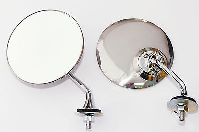 Pair Lucas Style Classic Car Chrome Door / Wing Mirrors with Convex Mirror Glass