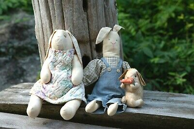 New Primitive Folk Art Tea Stained BOY BUNNY BOW TIE OVERALLS Rabbit Doll 25/""