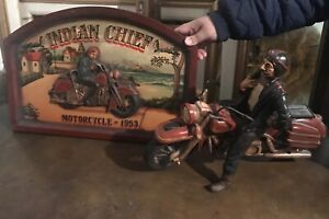 Indian chief motorcycle with board