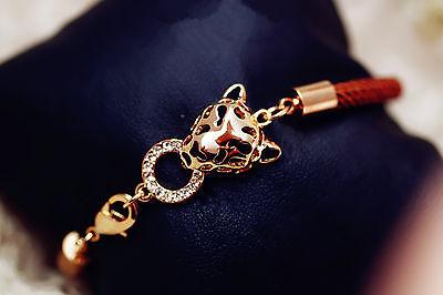 Feng Shui leopard bracelet amulet with red string  - ward off misfortune