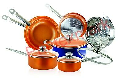 10-Piece Copper Cookware Set Luxury Induction Nonstick Skillet Steamer Sauce Pan