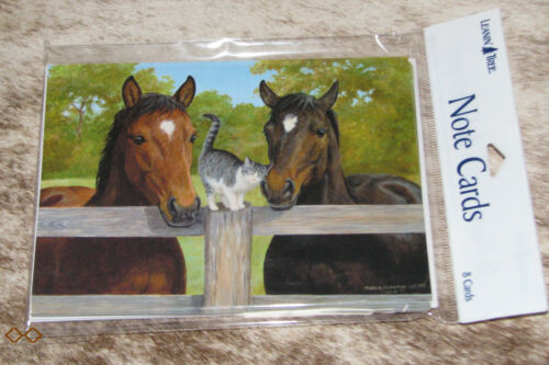LEANIN TREE Horses with Kitten at the Fence#35537~Pack 8 Notecards~Blank Inside