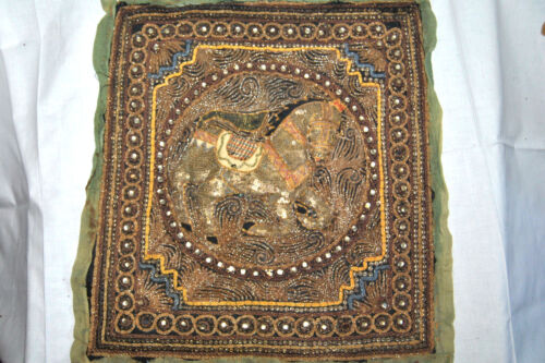 """Antique Vintage Embossed Embroidery HORSE  India Art Textile 16"""" x 18"""""""