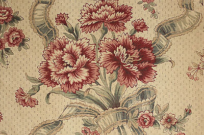 (Vintage French printed linen fabric material upholstery weight  ~ floral design )
