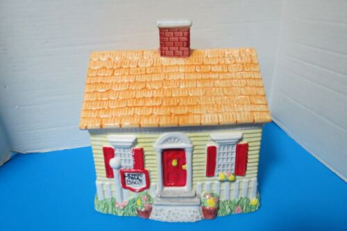 """Large Hand Painted Ceramic Cottage Cookie Jar Flowers Picket Fence 10"""" Tall"""