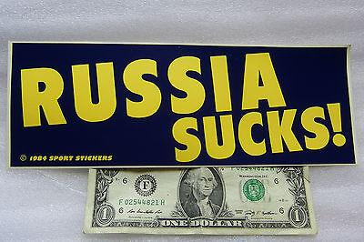 "Vintage 1984 Bumper Sticker RUSSIA SUCKS ! Yellow & Blue 3"" x 9"" FREE SHIPPING"