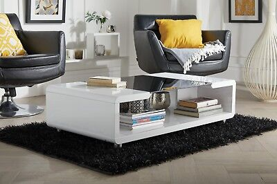 ALEXIS Modern White Black High Gloss And Glass Stylish Coffee Table