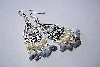 Earrings Natural Gemstone, Healing Crystal, Aquamarine, Pearl, Drop Hook