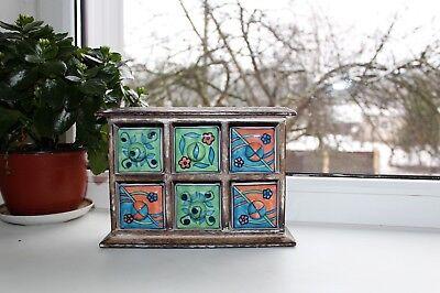 Ceramic Spice Box - Vintage Ceramic Spice Rack Pottery Tea Box Storage Ceramic Drawer