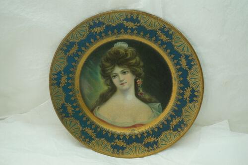 ANTIQUE DRESDEN ART PLATE MARIANNE PORTRAIT MEEK NO 208 COSHOCTON OHIO 1907