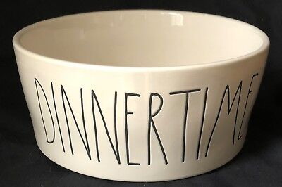 Rae Dunn DINNERTIME XL Dog Bowl Dish Food Water Ceramic SNACKS CHIPS X-Large NEW