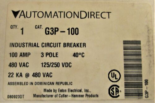 AUTOMATION DIRECT G3P 100 3 Pole 100 AMP G3P 22k Circuit Breaker G3P-100