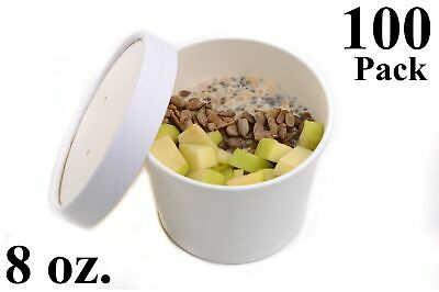 100 8 Oz. Round White Paper Disposable Deli Food Soup Containers With Lids
