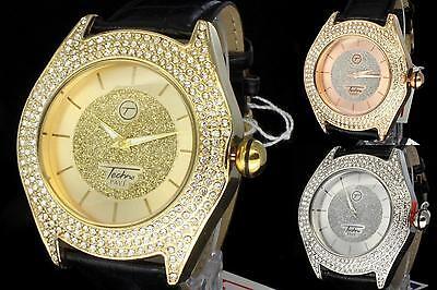 Black Bezel Watch - Mens Watch 49mm Bezel Techno Pave Black Leather Bezel Bling Wrist