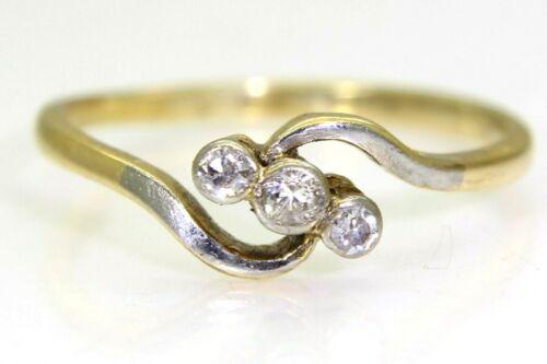 Art Deco Diamond Trilogy Bypass 18ct Yellow Gold Platinum Ring size M ~ 6 1/4