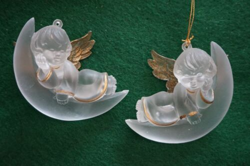 4 Vintage Angel Baby Moon Christmas Ornaments Frosted Plastic Gold Wing Accents