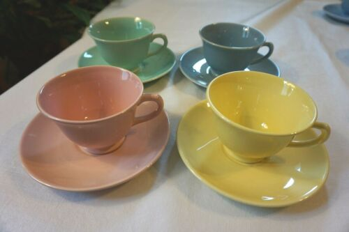 Vintage Lu-Ray Pastel BLUE PINK YELLOW GREEN Cups &  Saucers - Lot of 4