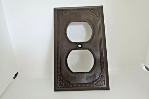 Art Deco Vintage Brown Bakelite Outlet Wall Plate Cover Ribbed Lines