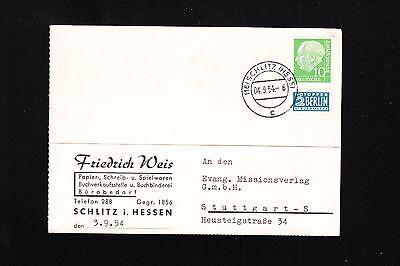 GERMANY 1954 TYPEWRITER CARD FRIEDRICH WEIS PAPER BOOKSELLER SCHLITZ 10P 2P