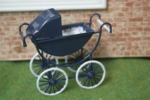Dolls House Miniature 1/12th Scale Navy and Cream Pram