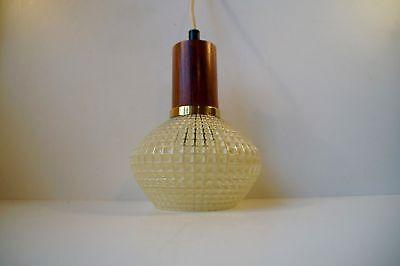 Vtg Danish modern 60s Teak & Waffle Glass Pendant Lamp Fagerlund Hammerborg era