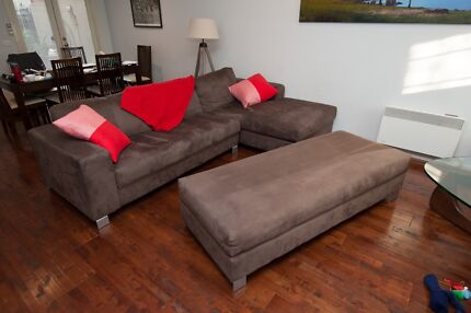 Sofa - 3-Seater Suede with Ottoman Blackburn Whitehorse Area Preview