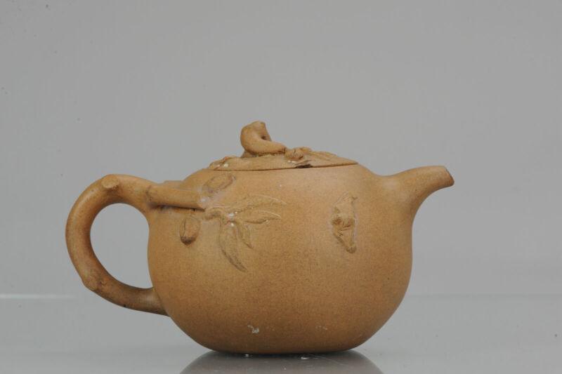 Antique Chinese 19/20th century  Zisha Yixing Teapot China Relief