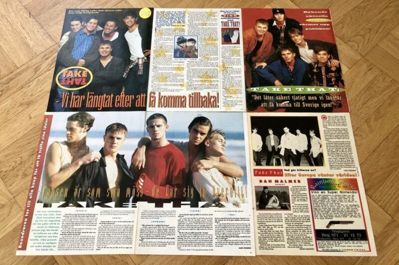 TAKE THAT 1990s ROBBIE WILLIAMS Clippings Posters Swedish magazine Okej Vintage