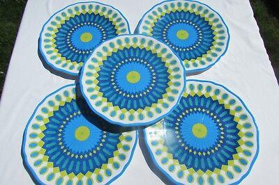 "NWT Kim Seybert Set of 5 Melamine Blue Green Mosaic Dinner Plates Outdoor 10.5"""