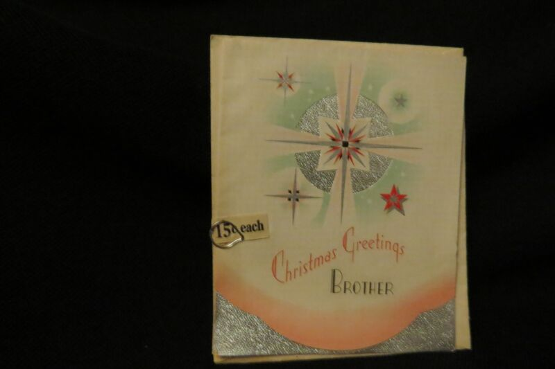 Vintage ART DECO Brother Christmas Card c. 1930s UNUSED w/orig envelope