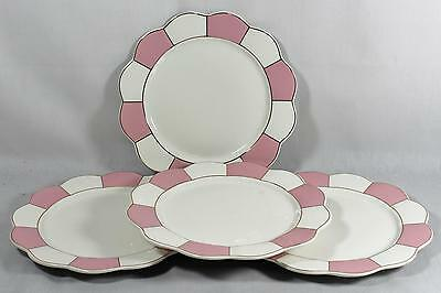 Cynthia Rowley Porcelain Dinner Plates Pink / White Stripes Gold Trim Set of 4
