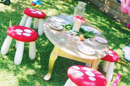 Children's Mushroom Stools - Red or Pink