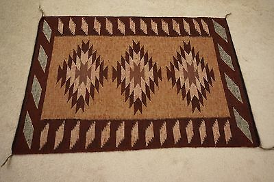 Very Finely Woven Raised Outline Navajo Rug Weaving from Coal Mine Mesa Area