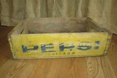 Vintage Yellow Wooden Soda Crate/Box Pepsi Cola Blue Logo #1293