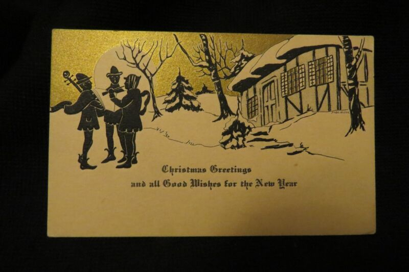 Vintage Art Deco MINSTREL Silhouette Christmas And New Year Card c. 1920s UNSIGN