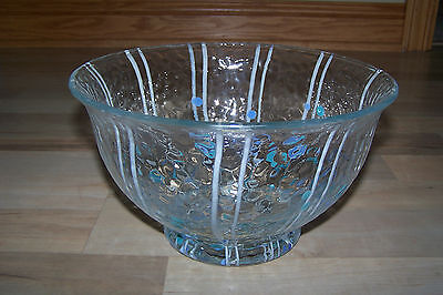 (Art Glass Bowl ~ Textured Glass w/White Stripes & Blue Dots ~ Nice Display Piece)