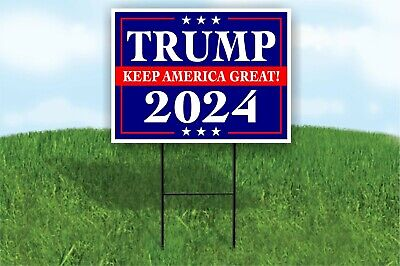 Trump Keep America Great 2024 Blue Yard Sign Road Sign With Stand Lawn Poster