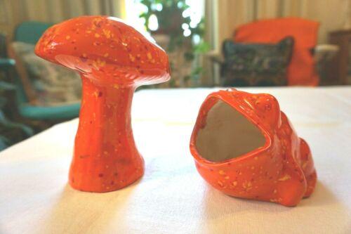 Vintage 1970s Ceramic Frog Sponge Holder & Mushroom orange splatter Retro Decor