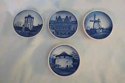 4 Royal Copenhagen Fajance  Mini Plates marked and signed