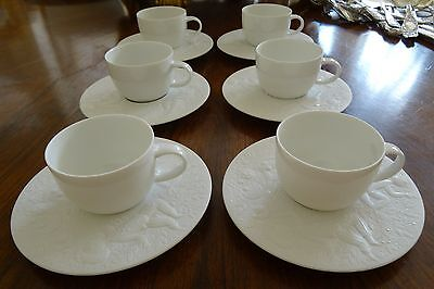 Rosenthal Magic Flute Cream Soup Cup /& Saucer All White Embossed