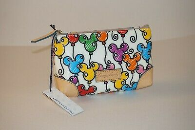 NWT Disney Genuine Dooney And Bourke Sketch Mickey Balloons cosmetic bag wallet