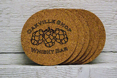 Cork coaster set personalized with custom engraved logo. Compliment kegerator. Cork Coaster Set