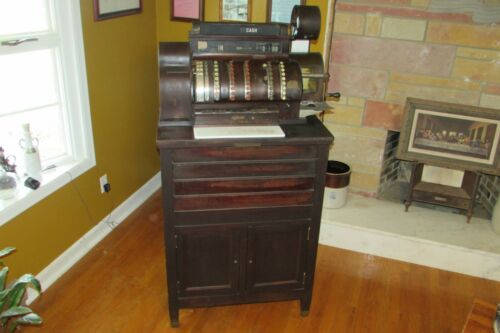Antique National Cash Register On Original Solid Wood Cabinet Model 944 #1002