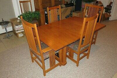 Mission/Craftsman Dining Set (Table/Chairs/Hutch), Solid Oak, EUC, Local Pickup