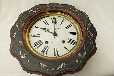 ANTIQUE FRENCH 8 DAY STRIKING VINEYARD CLOCK FOR SPARES OR REPAIR