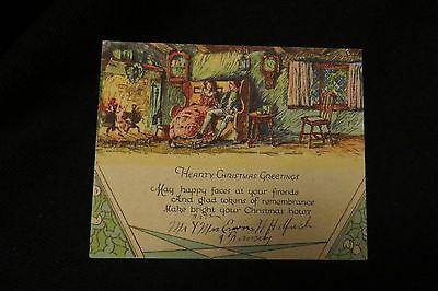 Vintage ART DECO COLONIAL Christmas Card c. 1930s