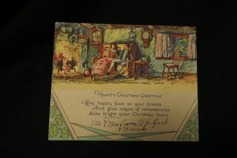 Vintage ART DECO COLONIAL Christmas Card c. 1930s